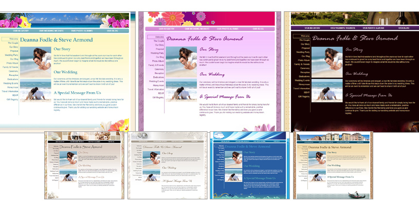Honeymoon Registry Wedding Website - Themes